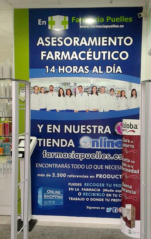 Pared farmacia: Impresión sobre vinilo laminado brillo