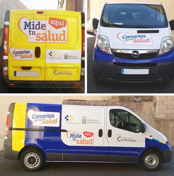 Rotulación furgoneta Canarias por la Salud