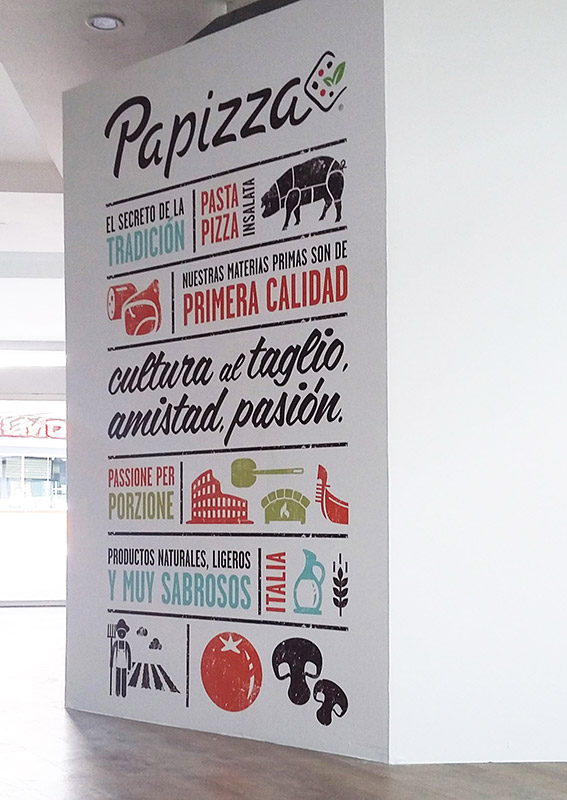 Pizzería: Impresión sobre vinilo para pladur